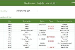 Plantilla Para El Manejo De Tarjeta De Crédito En Excel