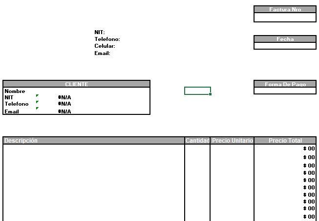 Formato De Factura En Excel Gratis